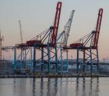 Kranar i Göteborgs hamn i gryningen. Foto: Colourbox